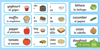 Food Word Cards English/Spanish - food, cards, different foods, names of food, food images, EAL