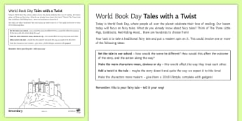 World Book Day: Tales with a Twist Activity Sheet - World Book Day, Writing, Creative, Traditional Tales