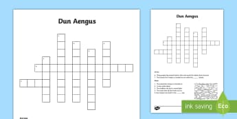 Dun Aengus Crossword - ROI - Dún Aonghusa, bronze age, fort, dun aengus, aran islands, inishmore, galway,Irish