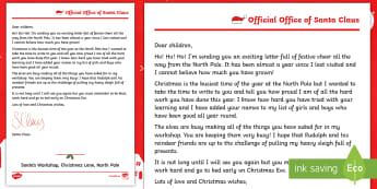 KS1 A Reply from Santa Letter - father christmas, xmas, noel, St Nicholas, St Nick, post, festive, writing stimulus, wow moment,