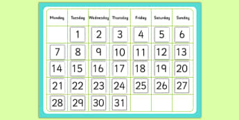 Monthly Calendar Cut and Stick Template - monthly calendar, cut and stick, template, monthly, calendar