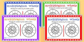 Multiplication Wheels Maths Challenge Cards - mulitply, maths