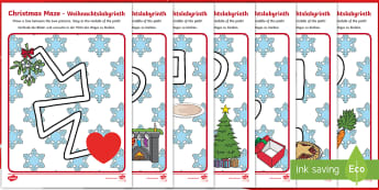 Christmas Pencil Control Path Activity Sheets English/German - EAL, German, Christmas Pencil Control Path Worksheets - christmas, pencil control, pencil control wo