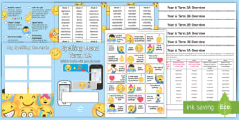 Year 6 Emoji Themed Spelling Menu Pack -  spag, gps, home learning, weekly, lists, test, spelling pattern, spelling rules