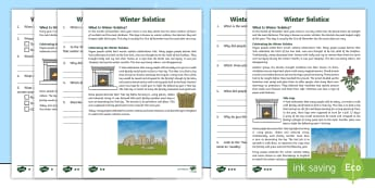 Winter Solstice Differentiated Reading Comprehension Activity - Understanding, Druid, Pagan, Yule, celebration, tradition, seasons, infer,Scottish