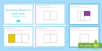 Partitioning Shapes into Equal Areas Cards - partitioning, shapes, fractions, fractional amounts, dividing,