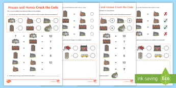 Houses and Homes Crack the Code Addition and Subtraction Activity Sheet -  - houses and homes, terraced houses, semi detached, crack the code, 0-20, number bonds to 20, addition