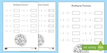 Dividing by Fractions Activity Sheet - Fractions, Division, 5th grade, NF, Problem Solving, worksheet