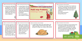 Addition and Subtraction Multi-step Word Problems Christmas Maths Challenge Cards - maths, christmas, addition, subtraction, challenge, card,Australia