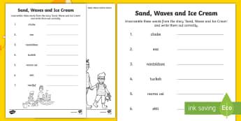 Sand, Waves and Ice Cream Word Scramble Activity Sheet - seaside, aistear, exploring my world, story, funfair, writing, reading, beach, sandcastle, literacy,