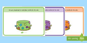 Cake Counting Playdough Mats - Number Playdough mat, cake, counting playdough mat, playdough resources, numeracy, numbers, playdough