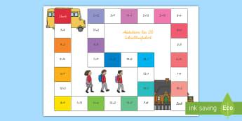 Addition bis 20 Schulbusfahrt Brettspiel - Addition,, addieren, plus, plus rechnen, +, 20, Brettspiel, Mathematik, Zahlen, Schulbus,German