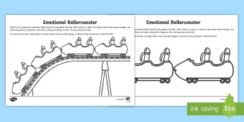 Emotional Rollercoaster Activity Sheet - young people, worry, feeling low, feeling happy, stress, PSHCE, families