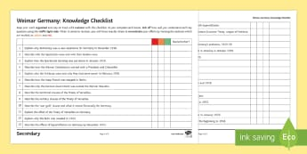 Weimar Germany: Topic Revision Checklist Guide - transition, organisation, assessment for learning, self help, independent learning, Weimar