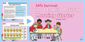 SATs Survival: Year 2 English Revision Morning Starter Weekly PowerPoint Pack 7 - SATs Survival Materials Year 2, SATs, assessment, 2017, English, SPaG, GPS, grammar, punctuation, sp