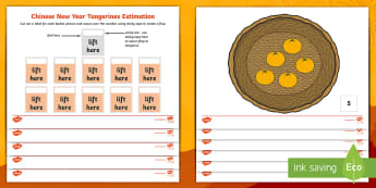 Chinese New Year Tangerines Estimation Activity Sheets - EYFS, Early Years, KS1, Key stage 1, Chinese new year, tangerines, chinese new year food, maths, mat