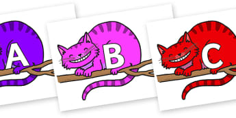 A-Z Alphabet on Cheshire Cats - A-Z, A4, display, Alphabet frieze, Display letters, Letter posters, A-Z letters, Alphabet flashcards