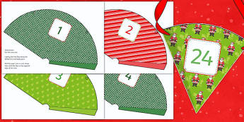 Advent Calendar Cones - advent calendar, advent, christmas, christmas themed, christmas work, christmas activities, cutting, cut and stick, cutting activity