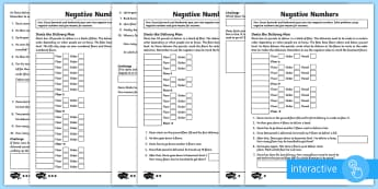 Negative Numbers - KS2 Resources