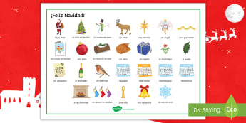 Christmas Key Terms Word Mat Spanish - vocabulary, spellings, reading, help, classroom, organisation