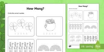 St Patrick's Day Maths Counting Worksheet / Activity Sheet - ROI St Patrick's Day maths,  maths, counting, Patrick's Day, Aistear, infants maths, infants, juni