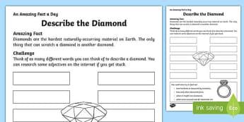 Describe the Diamond Activity Sheet, worksheet