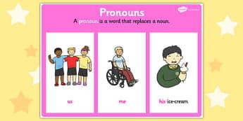 Pronoun Display Poster - pronouns, grammar, literacy, vocab