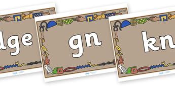 Silent Letters on Egyptian Bricks - Silent Letters, silent letter, letter blend, consonant, consonants, digraph, trigraph, A-Z letters, literacy, alphabet, letters, alternative sounds