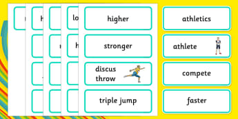 The Olympics Athletics Word Cards - Olympics, Olympic Games, sports, Olympic, London, 2012, word card, flashcards, cards, Olympic torch, flag, countries, medal, Olympic Rings, mascots, flame, compete, athletics, race, running, sprint, jumping, high j