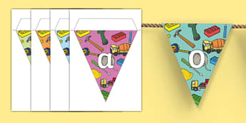 Construction Area Themed Bunting - construction, classroom areas