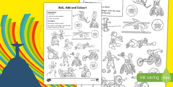 Paralympics Three Dice Addition Roll and Colour Worksheet / Activity Sheet, worksheet
