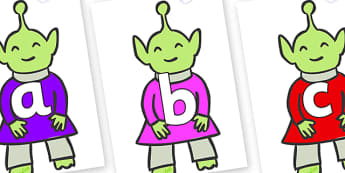 Phoneme Set on Aliens - Phoneme set, phonemes, phoneme, Letters and Sounds, DfES, display, Phase 1, Phase 2, Phase 3, Phase 5, Foundation, Literacy