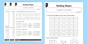 Shade 1/2, 1/4 or 2/4 of a shape Differentiated Worksheet / Activity Sheets - Fraction, 1/2, 1/4, 2/4, half, halves, quarter, shape