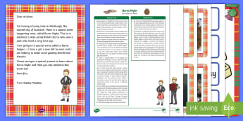 Editable Burns Night Letter Topic Hook Activity and Resource Pack - Burns Night, Burns Supper, Robert Burns, Scotland, Scottish Festival.