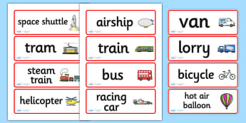 Transport Word Cards - Transport, word card, flashcards, car, van, lorry, bike, motorbike, plane, aeroplane, tractor, truck, bus