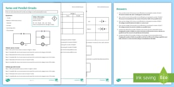 Series and Parallel Circuits Investigation Instruction Sheet Print-Out - Investigation Help Sheet, science practical, method, instructions, circuit, circuits, series, parall