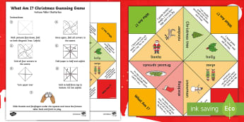 What Am I? Christmas Guessing Game Fortune Teller Template - Chatterbox, Xmas, What Am I, Christmas Craft Activity, Paper Craft