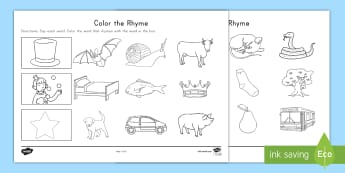 Color the Rhyme Activity Sheet - Rhyming Words, Word Families, Phonological Awareness, Seat work, worksheet