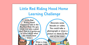 Little Red Riding Hood EYFS Home Learning Challenge Sheet Reception FS2 - little red riding hood, eyfs, challenge