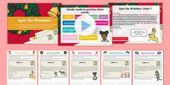 KS1 Letters to Santa: Spot the Spelling Mistake Resource Pack - Jolly Christmas Postman, father christmas letters, appendix 1, common exception words, xmas letters