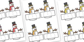 Editable Self-Registration Labels (Snowmen) - Self registration, snowman, winter, register, editable, labels, registration, child name label, printable, snowflake, skis, ice skates, gloves, hat, ice, snow, skiing, snowboarding, sledging