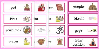 Hinduism Word Cards - Religion, faith, word cards, flashcards, hindu, temple, RE