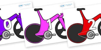 Numbers 0-50 on Bikes - 0-50, foundation stage numeracy, Number recognition, Number flashcards, counting, number frieze, Display numbers, number posters