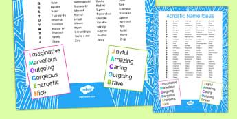 Acrostic Names Ideas Checklist