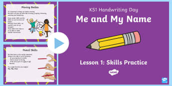 KS1 Me and My Name Handwriting Day Lesson 1 Skills Practice PowerPoint - KS1, Me and My Name, lesson, powerpoint, handwriting, practise, writing, letters, formation, lower c