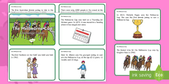 The Melbourne Cup Display Fact Cards - Melbourne Cup, melbourne, Australia, events, horse, races, facts