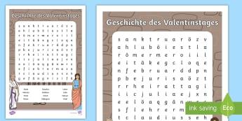 NEW * Die Geschichte Des Valentinstages Buchstabengitter