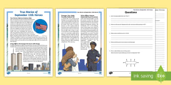 True Stories of 9/11 Heroes Activity - September 11, 9/11, Heroes, Patriot Day, World Trade Centers, NYC, US History