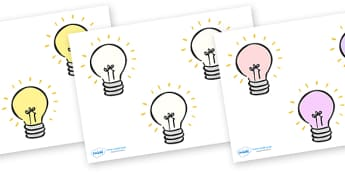 Editable Lightbulbs (Small) - Electric, safety, editable, label, safe, page border, border, writing template, writing aid, writing aid, power, circuit, electricity, battery