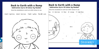 Back to Earth with a Bump Subtraction Up to 10 Colour by Number - maths, story, KS1, EYFS, twinkl fiction, hal, space, take away, subtract, subtracting